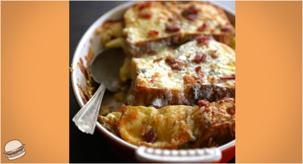 cheesyartichokebreadpuddinbacon