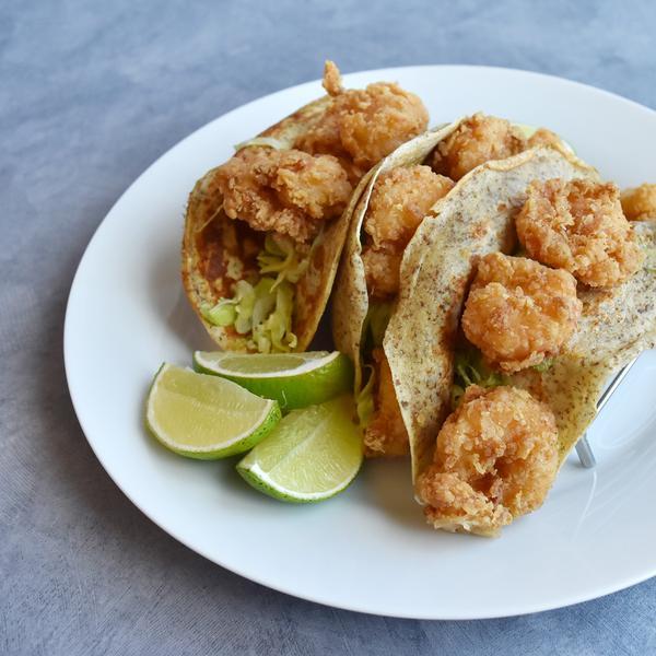 crispy deep fried shrimp tacos
