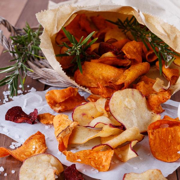 rosemary sweet potato chips with sea salt